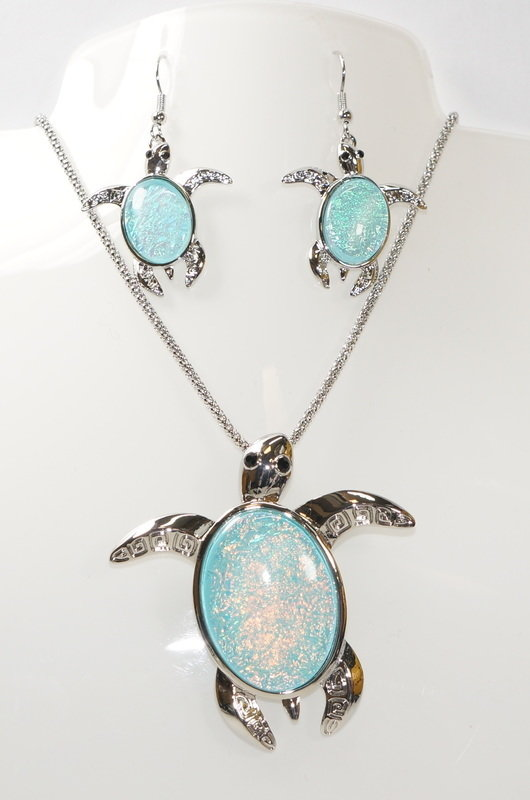 Sea Turtle Necklace and Earrings Set