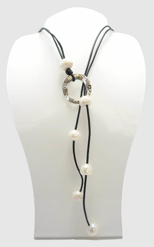 Gray Leather with White Pearl Lariat Necklace