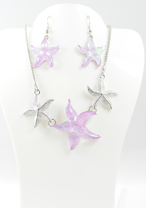 Triple Starfish Necklace and Earrings Set