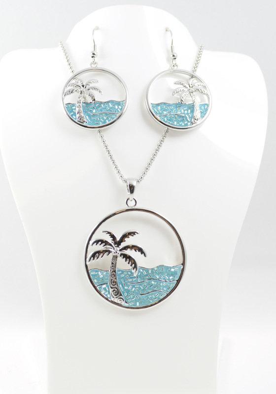 Ocean Scene Necklace and Earrings Set