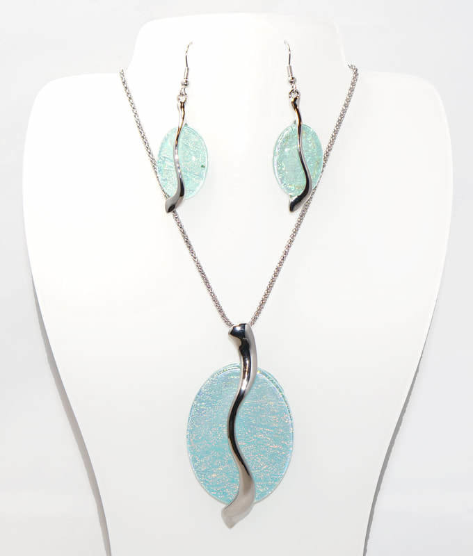 Abstract Oval Necklace and Earrings Set