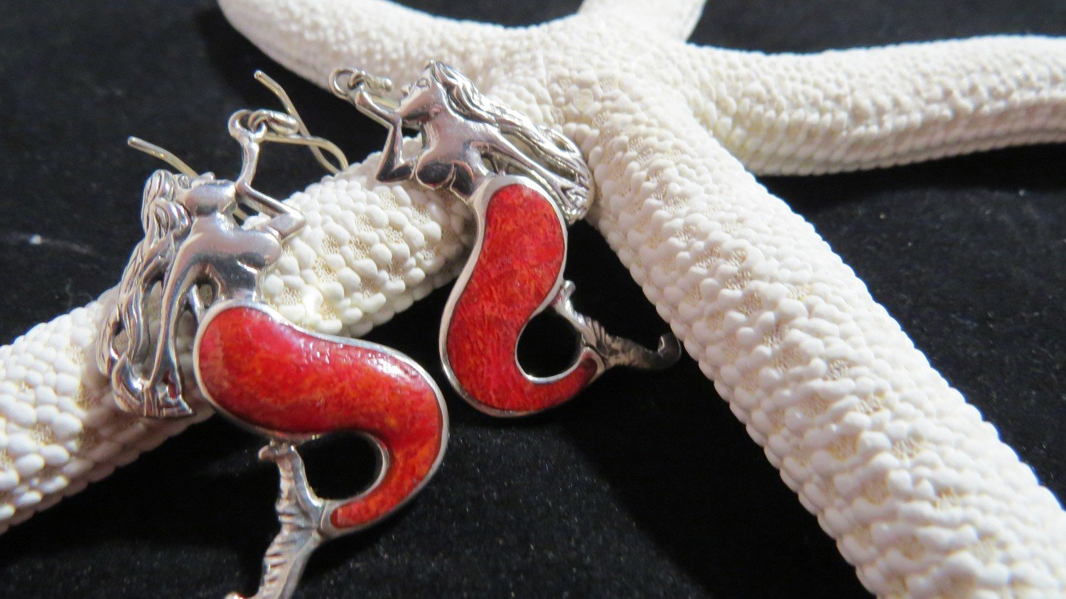 Red Coral Sterling Silver Mermaid Earrings