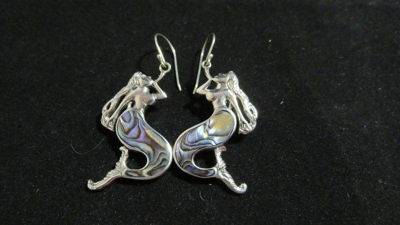Abalone Sterling Silver Mermaid Earrings