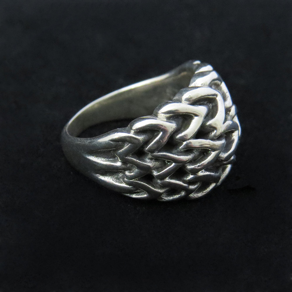 Sterling Silver Woven Unisex Ring