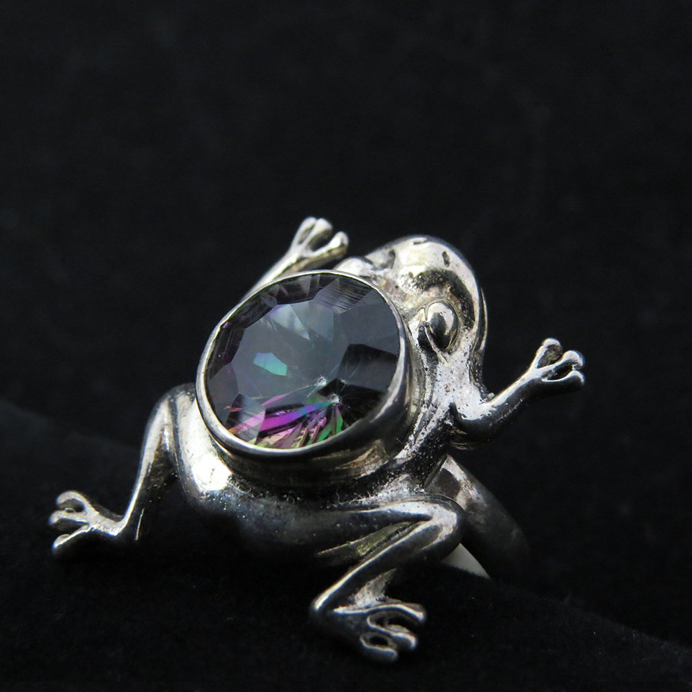 Sterling Silver Frog Design with Mystic Topaz