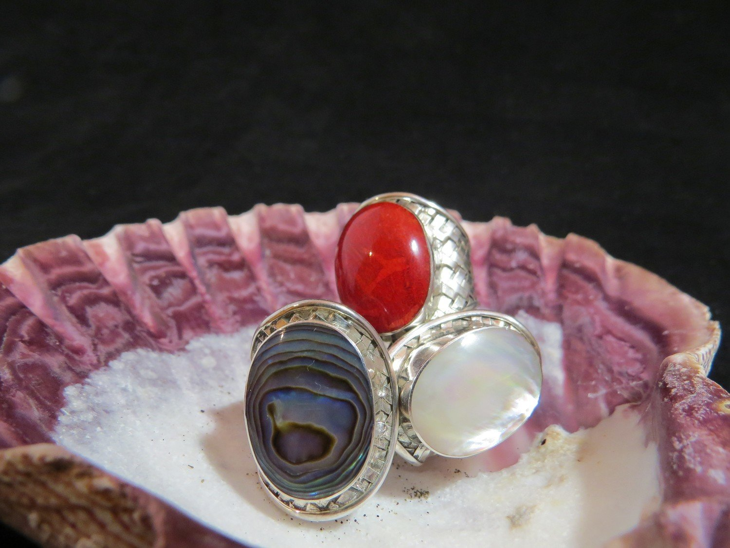 Sterling Silver Red Coral Cross-Hatched Ring