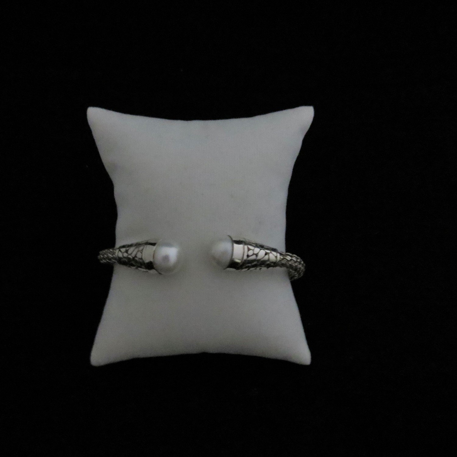 Sterling Silver Flexible Mabe Pearl Bangle