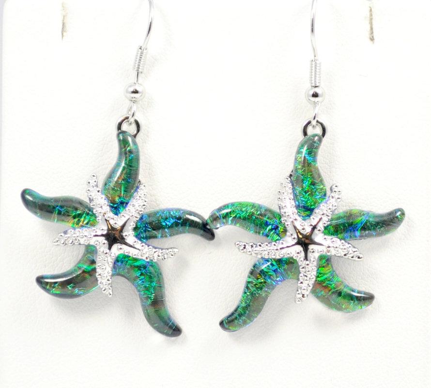 Starfish Green Earrings