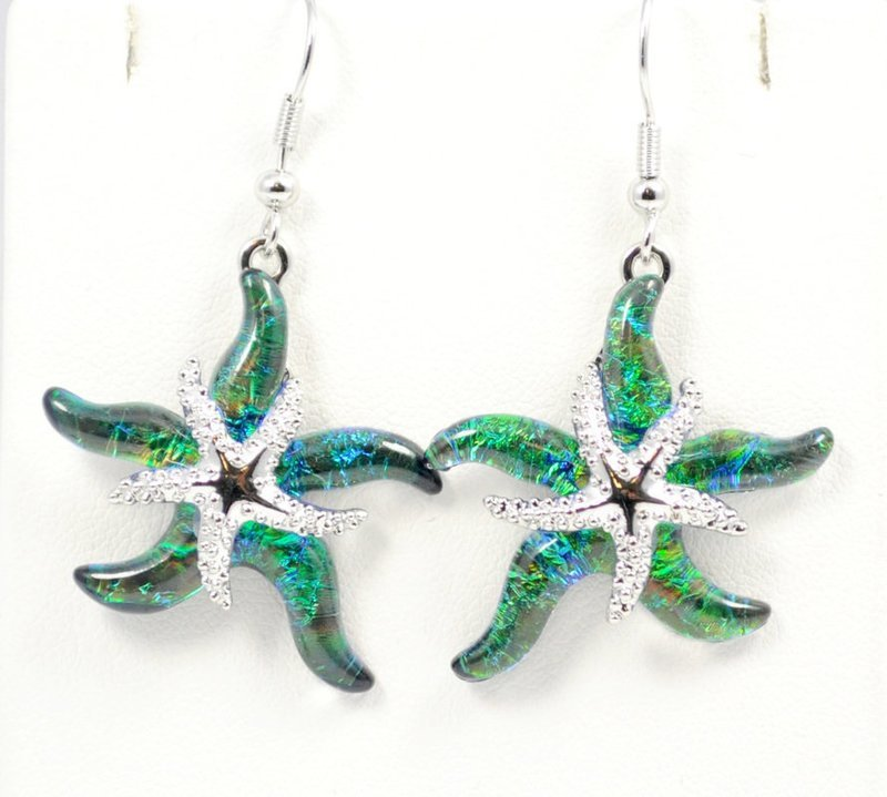Starfish Green Earrings