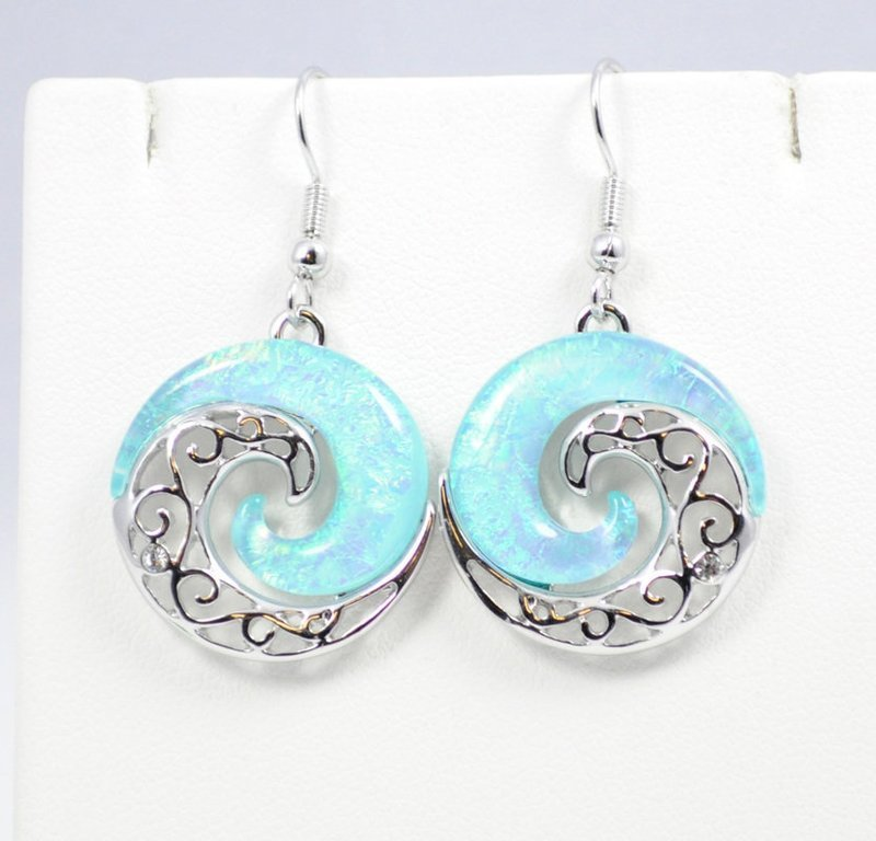 Wave Light Blue YinYang Earrings
