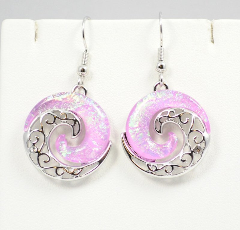 Wave Beach Pink YinYang Earrings