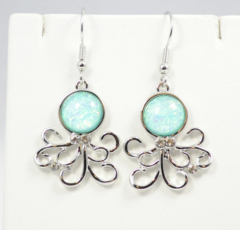 Octopus Light Blue Earrings