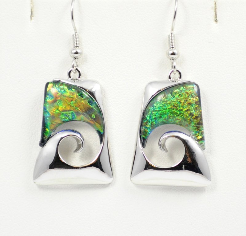 Wave Abstract Design in Green Earrings