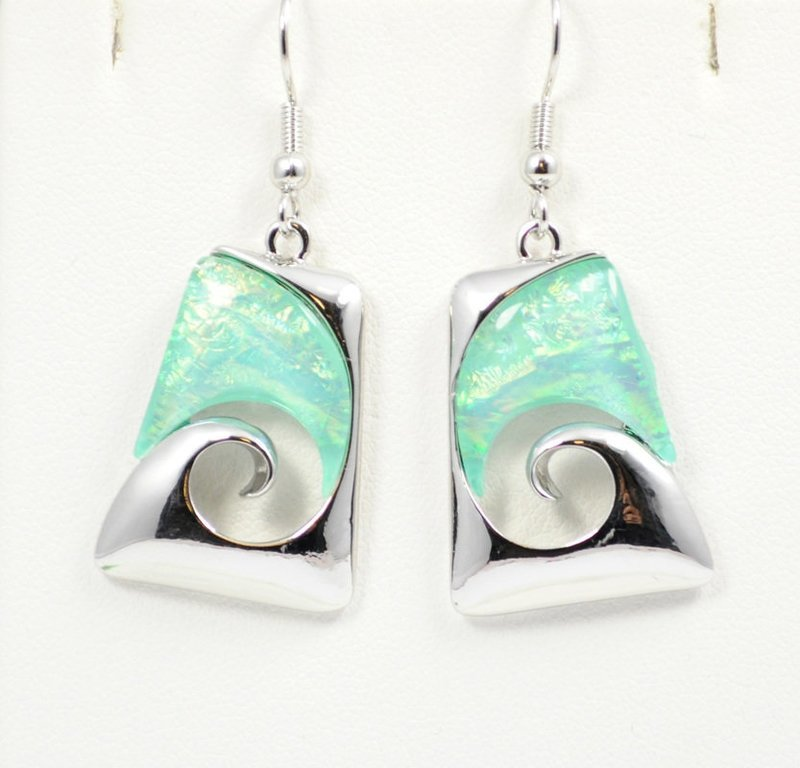 Wave Abstract Design in Light Ocean Blue Earrings