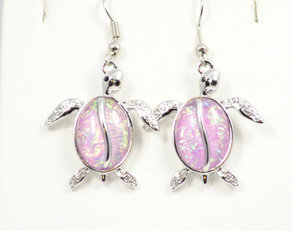 Sea Turtle Beach Pink Earrings