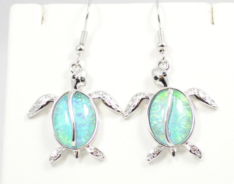 Sea Turtle Light Ocean Blue Earrings