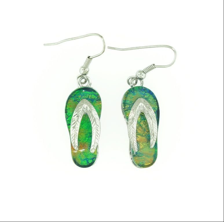 Flip/Flop Dark Green Earrings