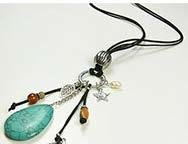 Leather Necklace With Turquoise Pendant
