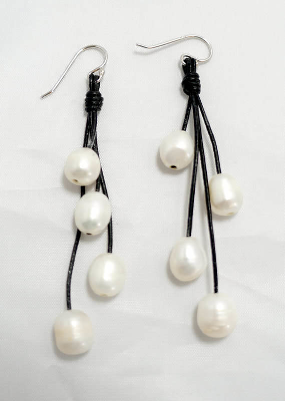 Black Leather with White Fresh Water Pearl Earrings