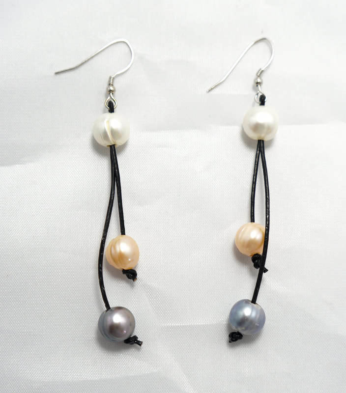 Black Leather with Two Multi Color Pearl Earrings