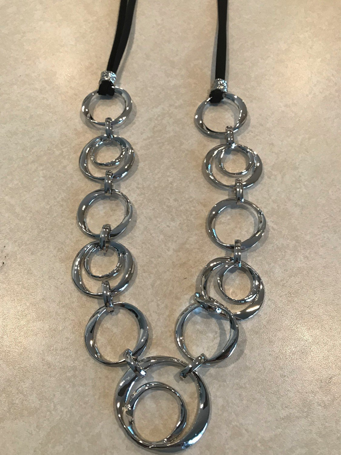 Leather Necklace With Small to Large Circles