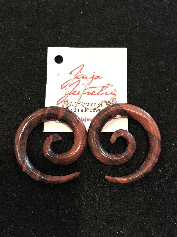 Sono Wood Spiral Earrings