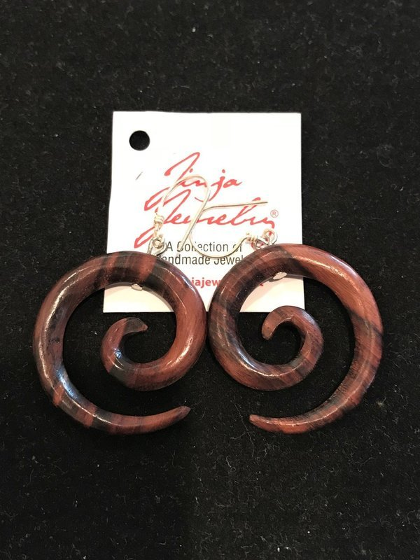 Sono Wood Spiral Earrings