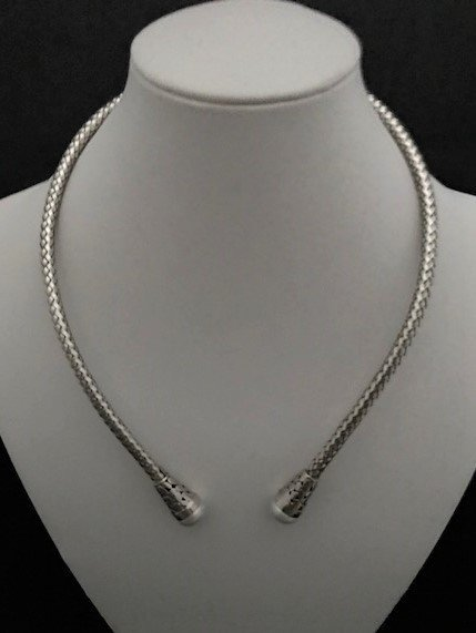Sterling Silver Adjustable Necklace with Pearls