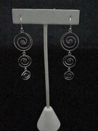 Sterling Silver Three Drop Spiral Earrings