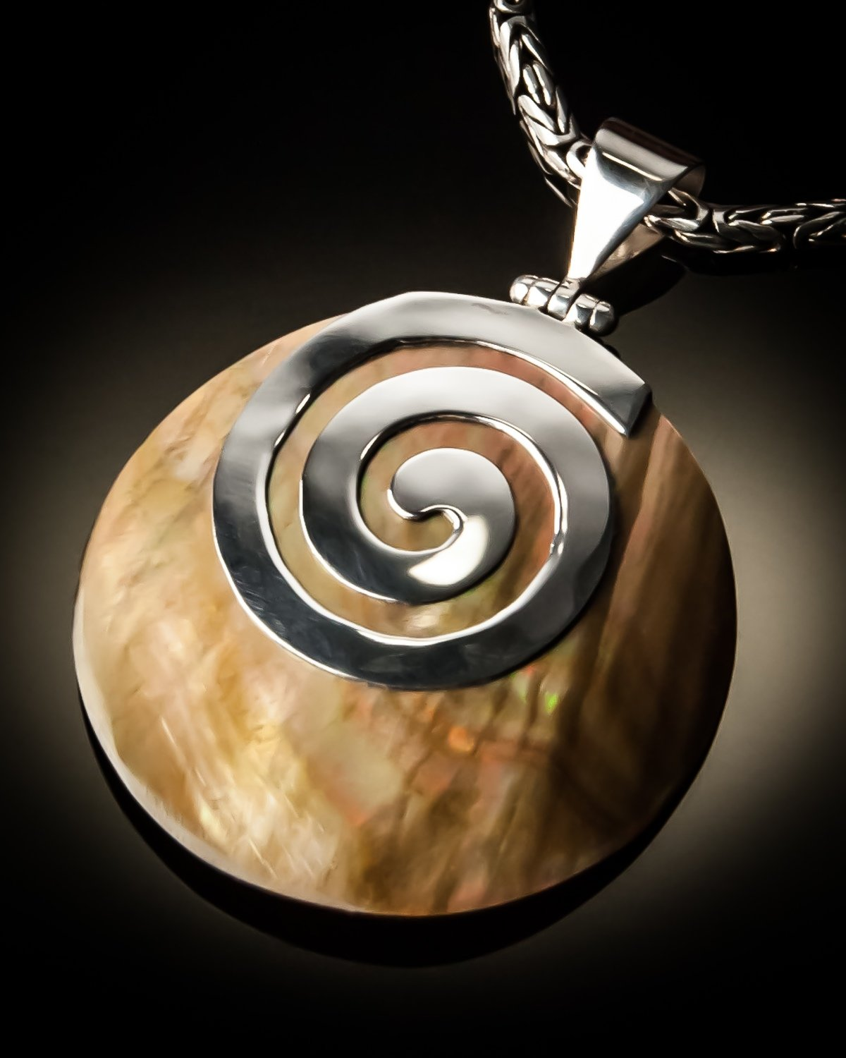 Brown Mother of Pearl Sterling Silver Swirl Pendant