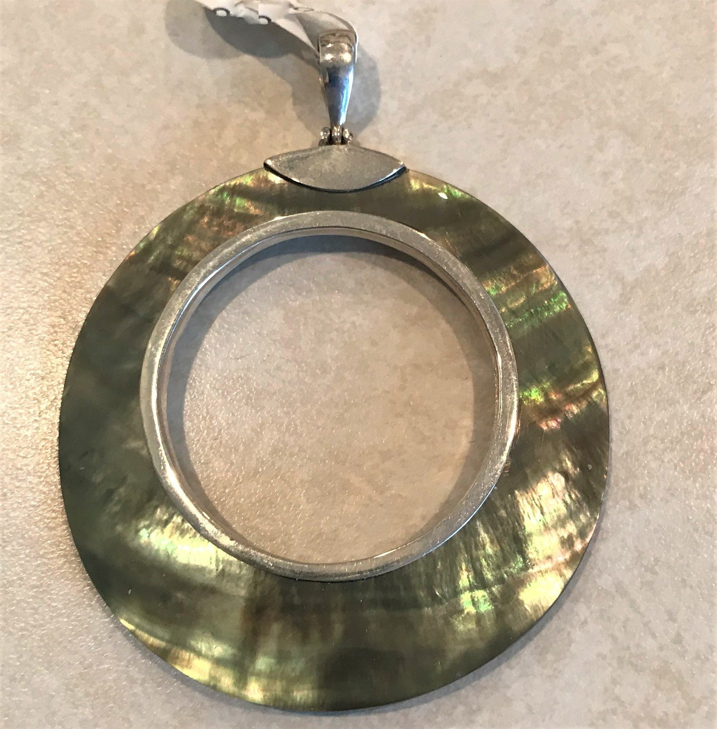 Sterling Silver Gray Mother of Pearl Open Pendant