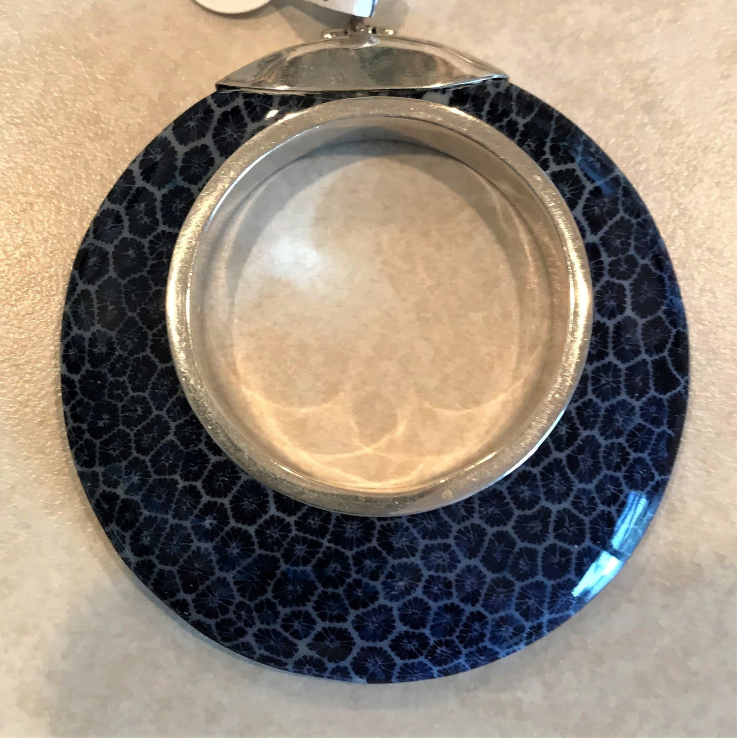 Sterling Silver Blue Coral Round Open Pendant