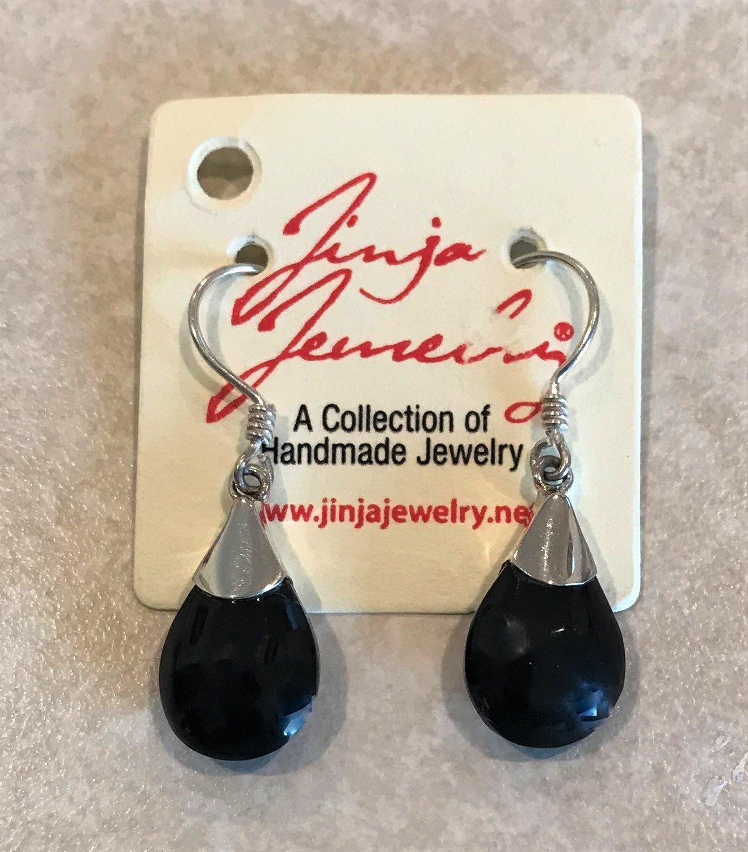 Black Shell Small Teardrop Earrings