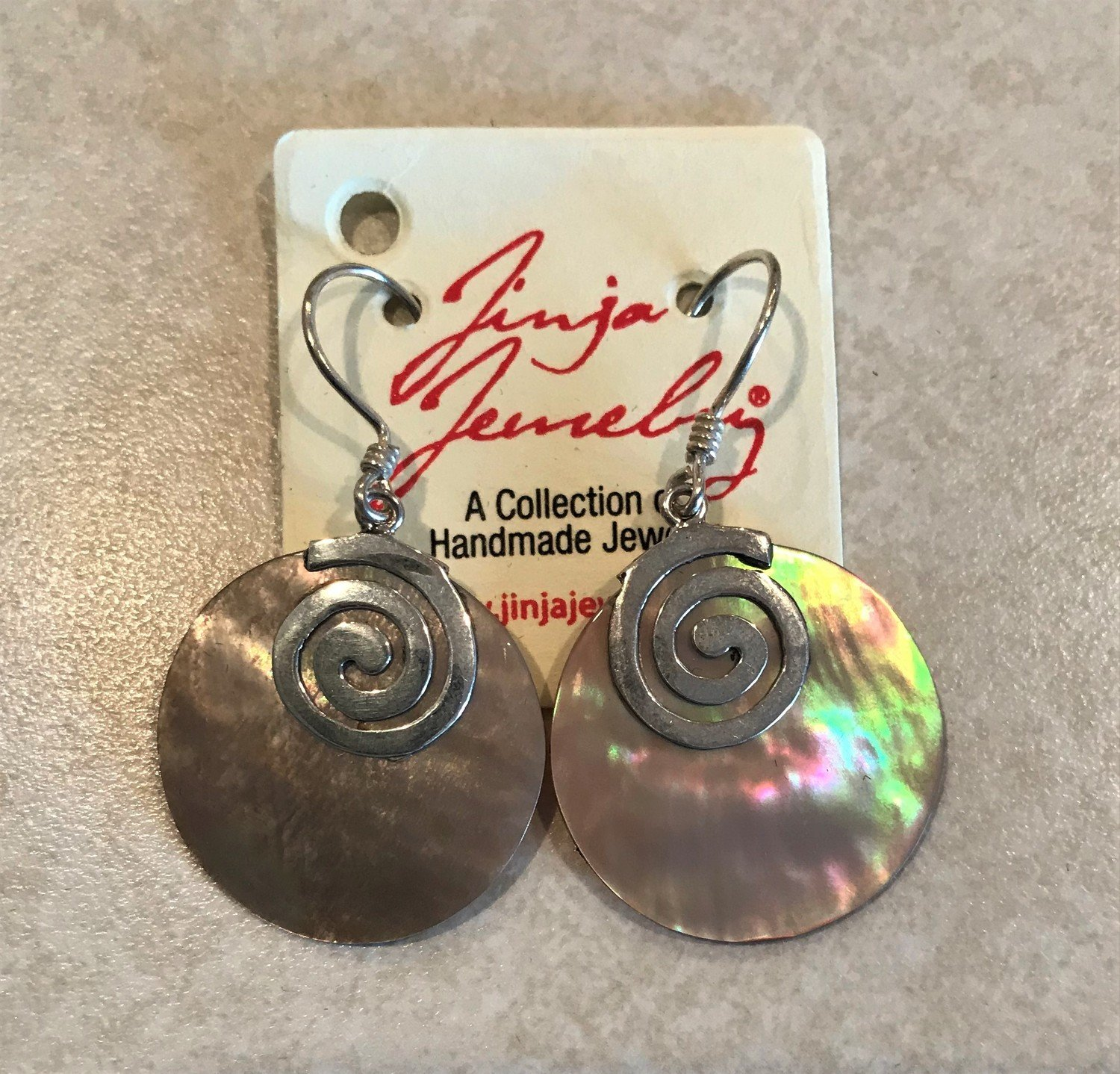 Brown Mother Of Pearl Swirl Earrings