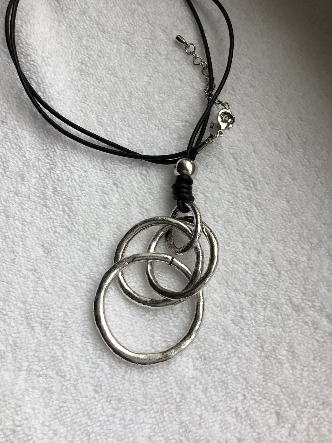 Ring and Circle Leather Necklace
