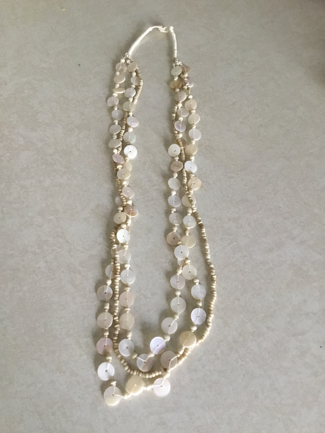 Tan Shell  Beaded Necklace