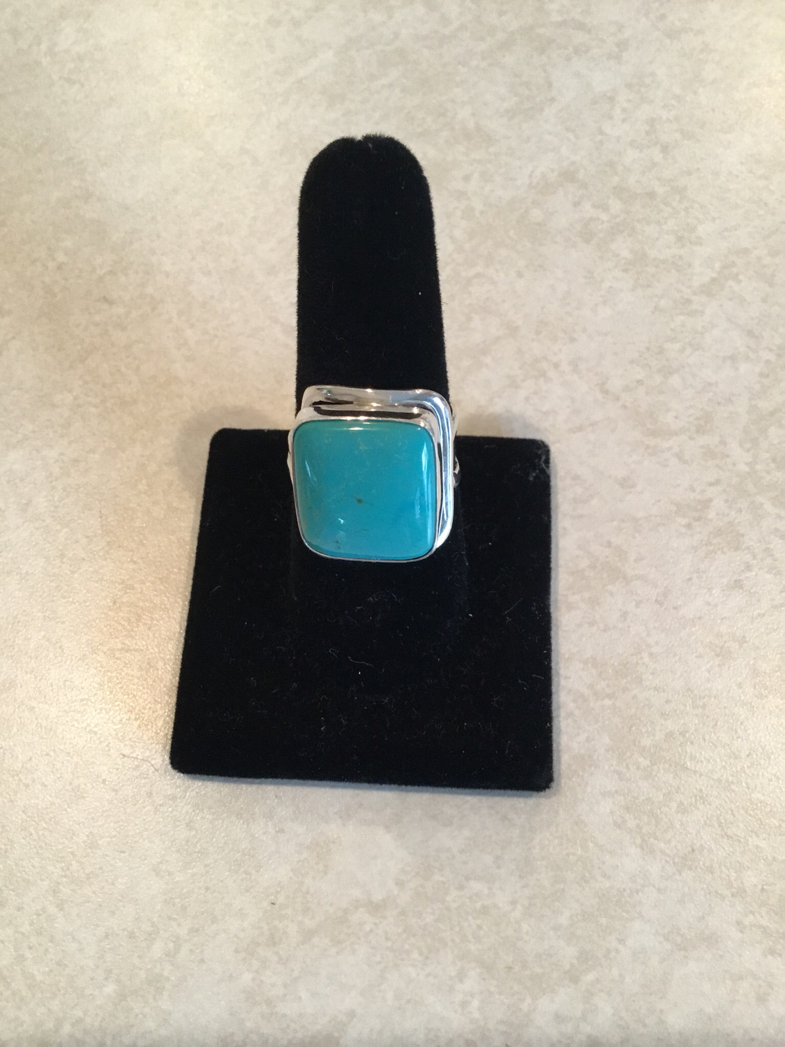 Sterling Silver Square Blue Turquoise Ring