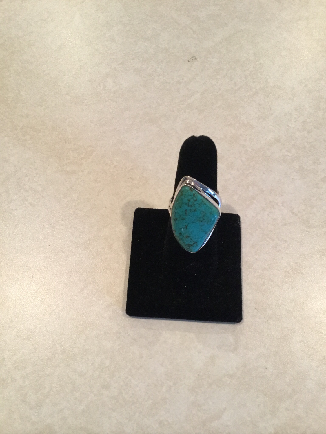 Sterling Silver Beautiful Abstract Blue Turquoise Ring
