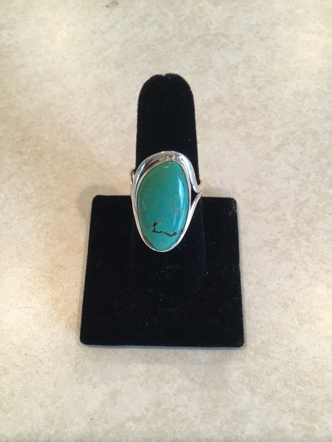 Sterling Silver Oval Angle Blue Turquoise Ring
