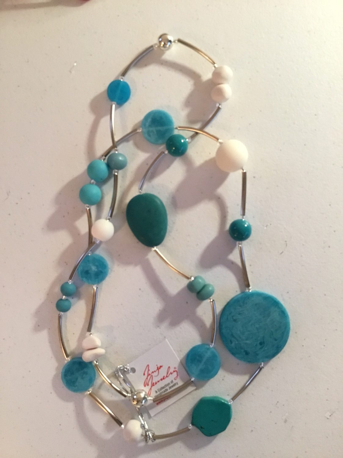 Turquoise and White Stainless Steel Long Necklace