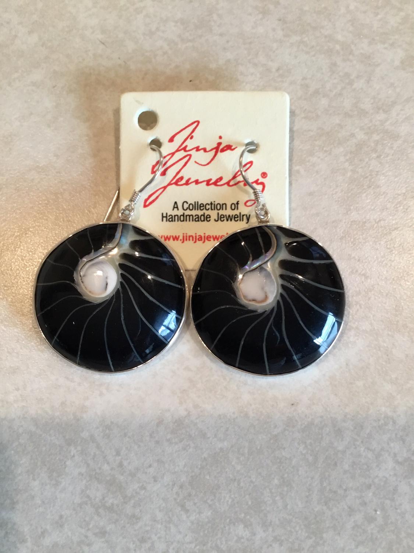 Sterling Silver Black Shell Earrings