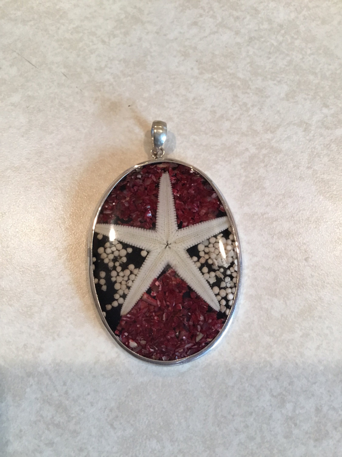 Sterling Silver Starfish Pendant in Sand