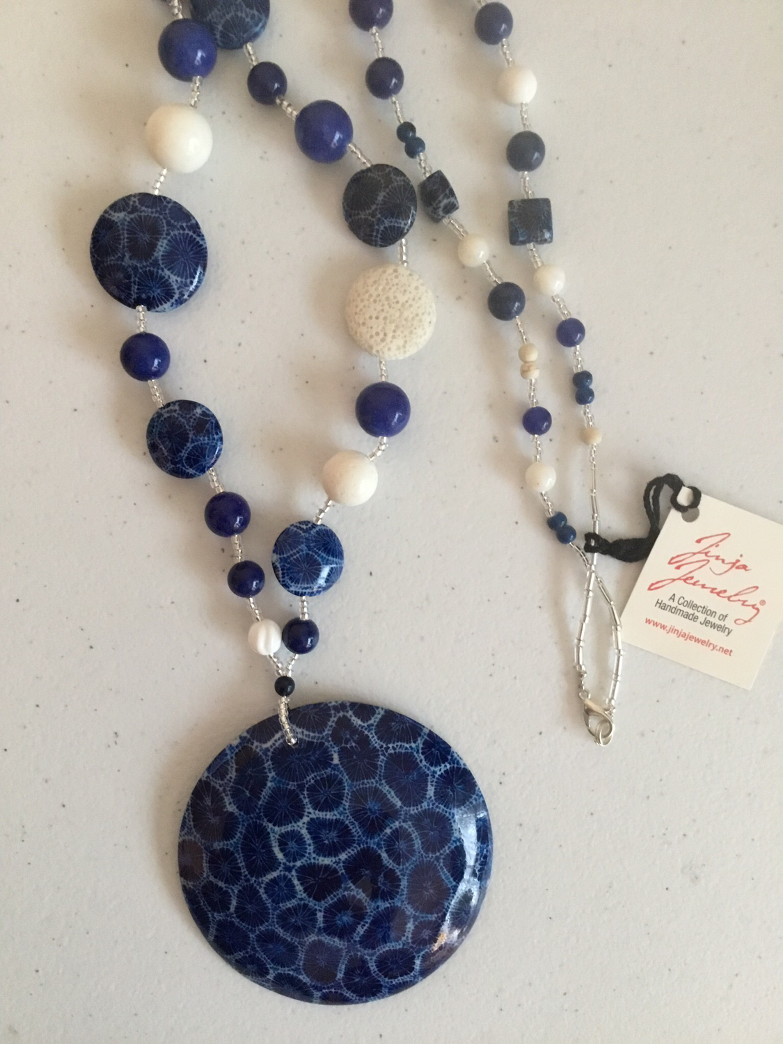 Blue Coral Xlarge Pendant White Coral Necklace