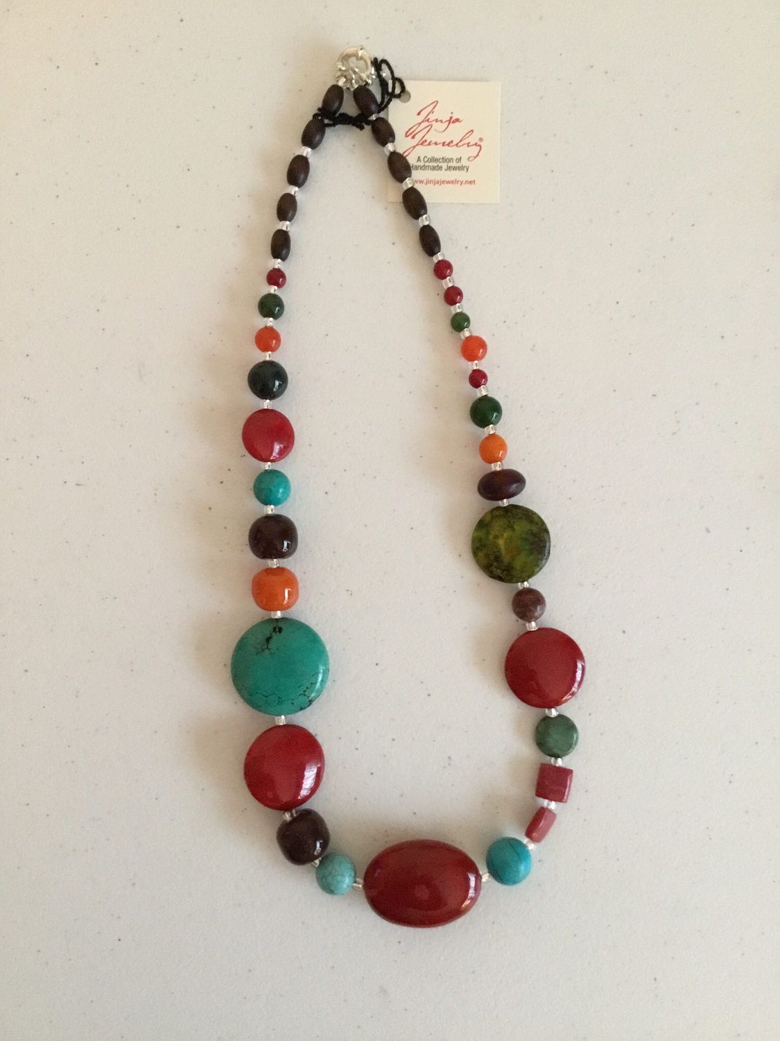 Red Coral Turquoise Sterling Silver Necklace