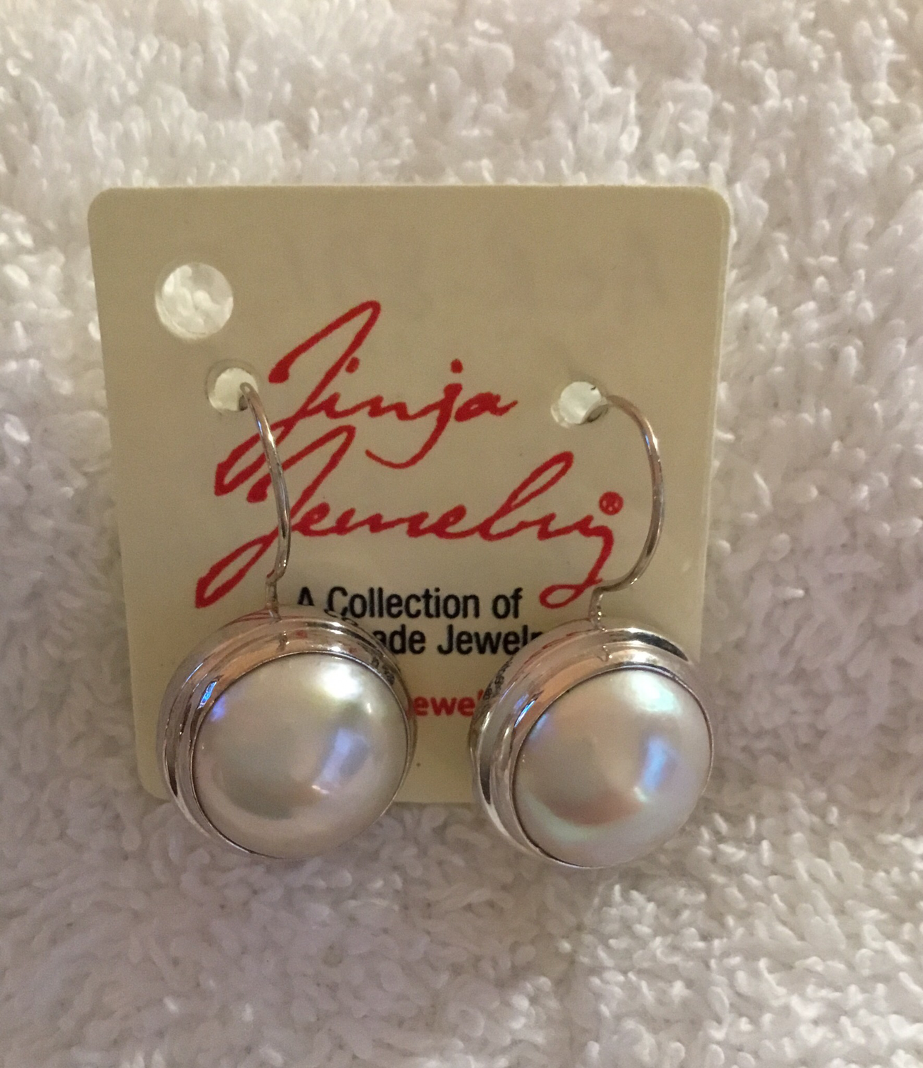 Sterling Silver Mabe Pearl Earrings White