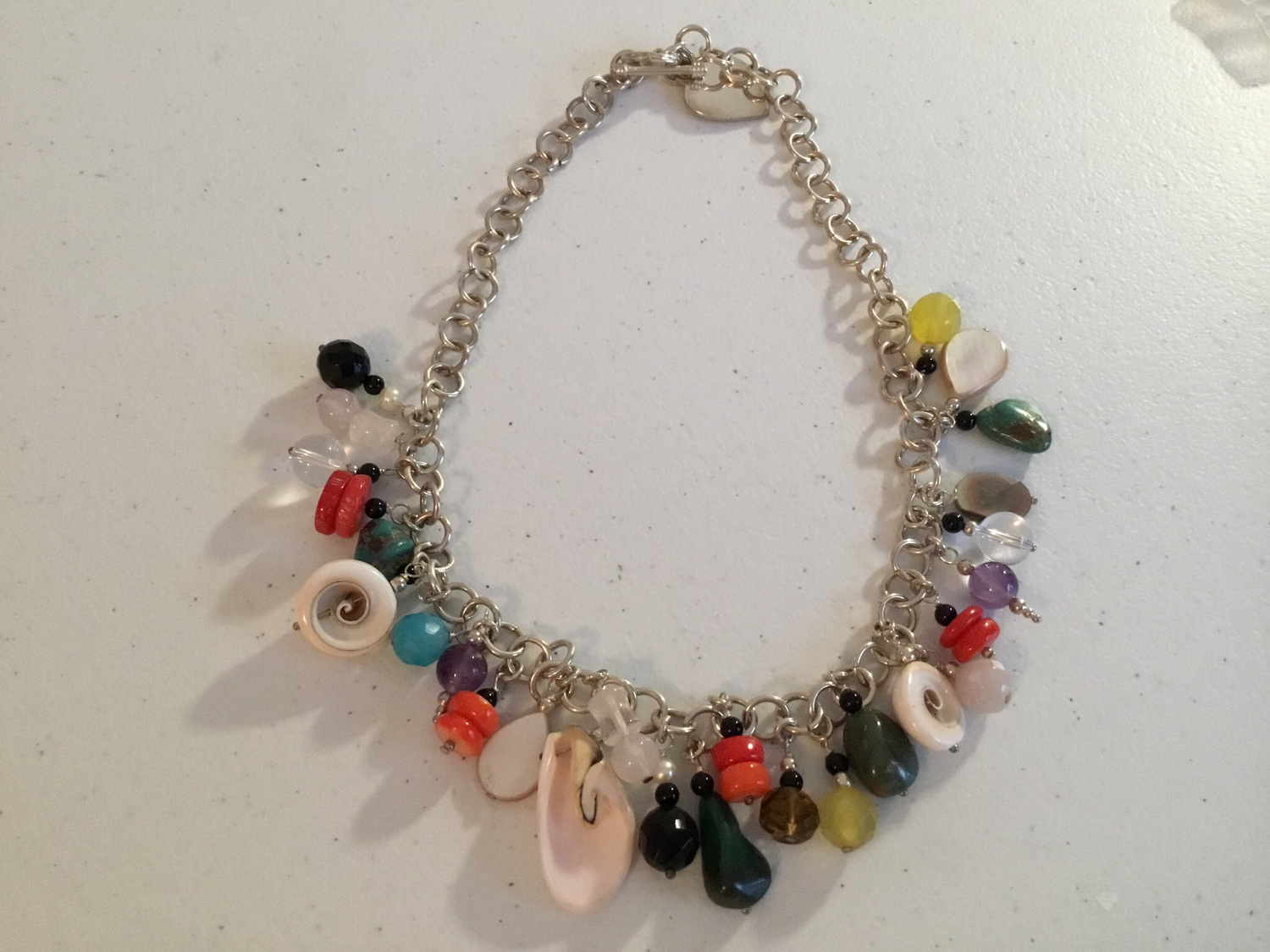 Sterling Silver Gems And Charms Necklace
