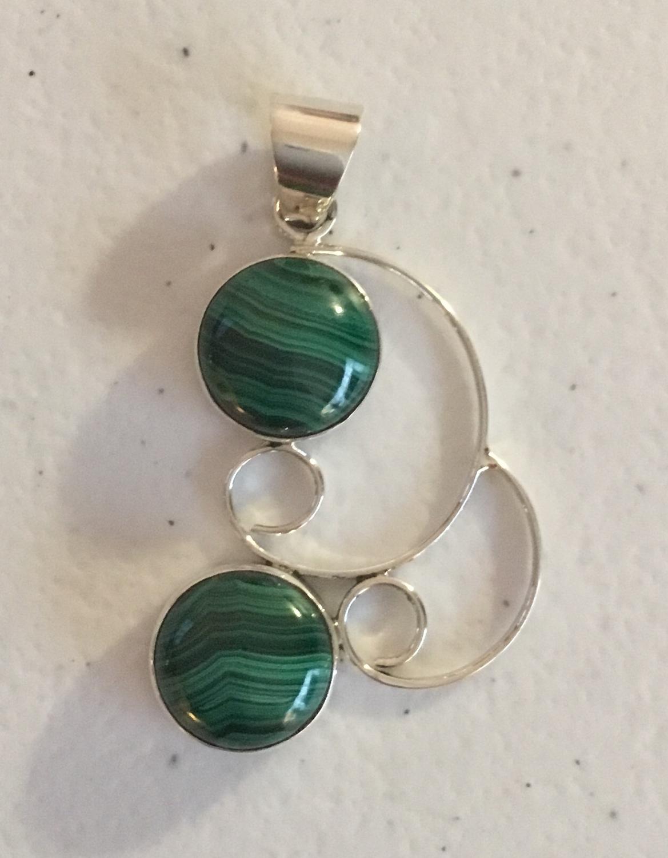 Sterling Silver Malachite Handmade Earrings
