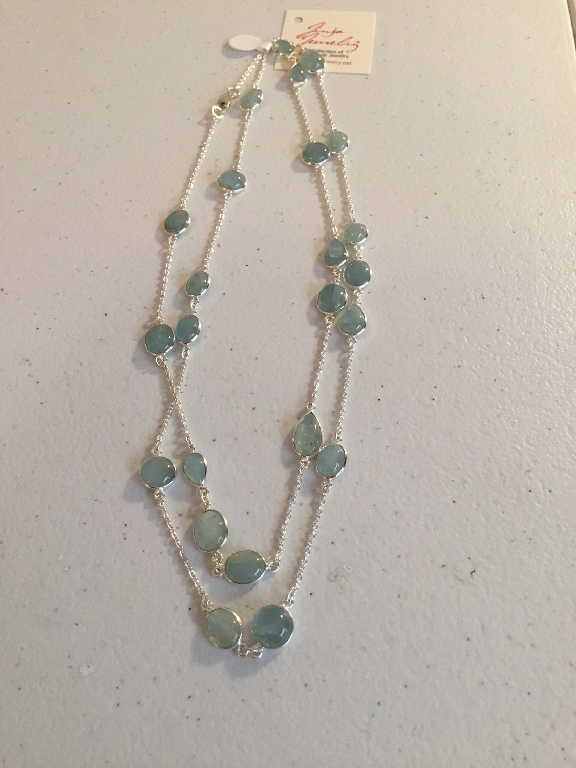 Sterling Silver Handmade Baby Blue Jade Necklace