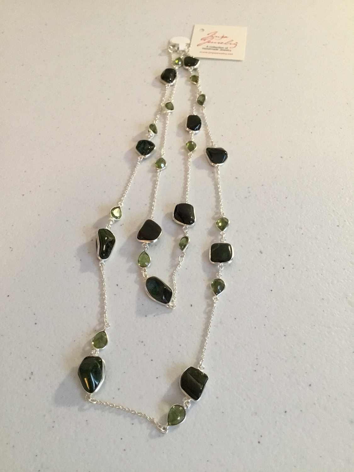 Sterling Silver Handmade Green Jade And Peridot