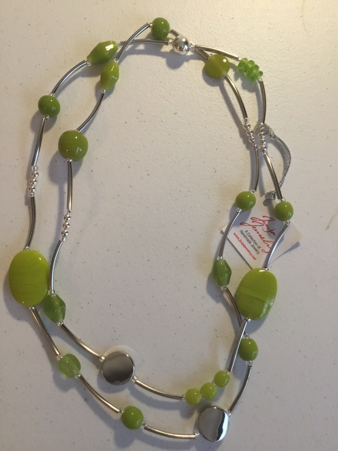 Stainless Steel Lime Green Necklace